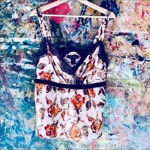 Lane Bryant  Floral Top W/Lace & Velvet Trim SZ 14